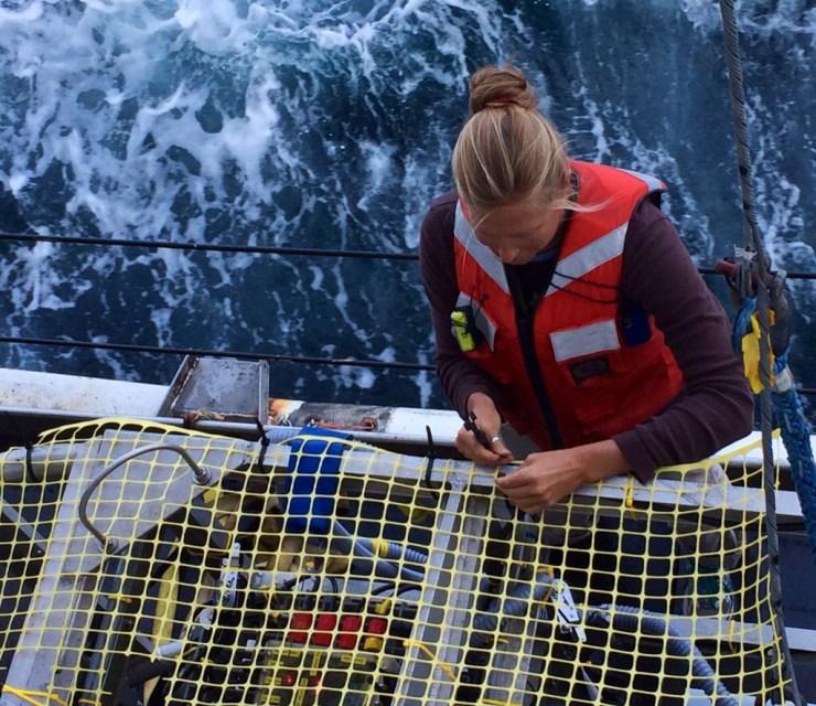 Dr. Lizet Christiansen prepares TowCam for its first dive.