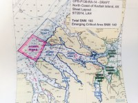 This image shows the project on the North side of Kodiak Island.  The project area is split into sheets.  Sheet 6 is highlighted in pink.  (Photo Courtesy NOAA and Project Instruction packet.)
