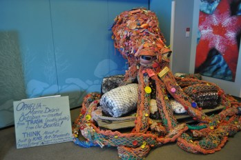 Artwork from the SeaLife Center created by high school students to illustrate how much trash ends up on our beaches.