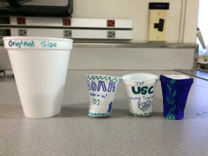 Cups compared to the original size (front). Photo by DJ Kast.
