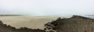 A panoramic view of the South Jetty and the beaches of Newport.