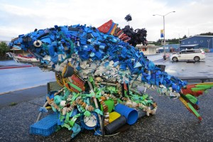 This sculpture was made entirely of trash found in the ocean.