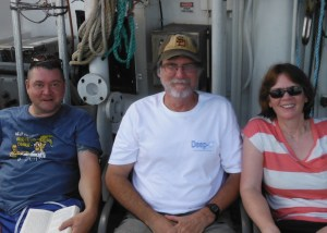 Ian Davenport, Jim Nienow and me relaxing on the aft deck between stations. Photo: Trey Driggers