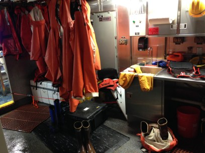 Before you enter the wet lab, you get geared up here. Sometimes to make a quick entrance/exit, you leave your boots in your coveralls (bottom right)