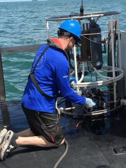 Scientist James Sulikowski prepares the CTD for deployment