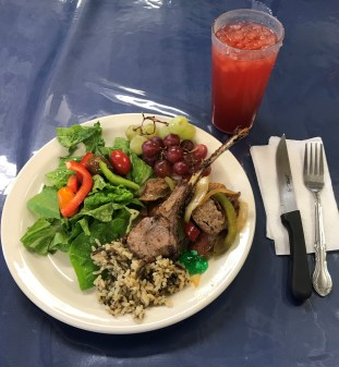 We have the option to eat fresh fruits and vegetables at every meal, and there is always a new kind of meat to try! This meal was the first time I have ever eaten lamb!