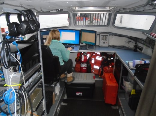 Ali Johnson inside one of the launch boats