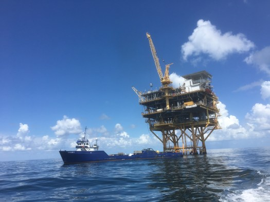 Oil Rig and Boat