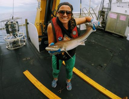 Ashley holding shark