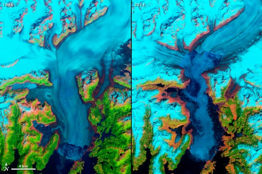 Columbia Glacier 1986 (left) 2011 (right). Image from https://visibleearth.nasa.gov/view.php?id=78657