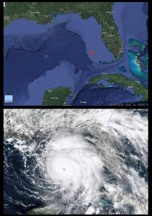 Two maps show the Gulf of Mexico.