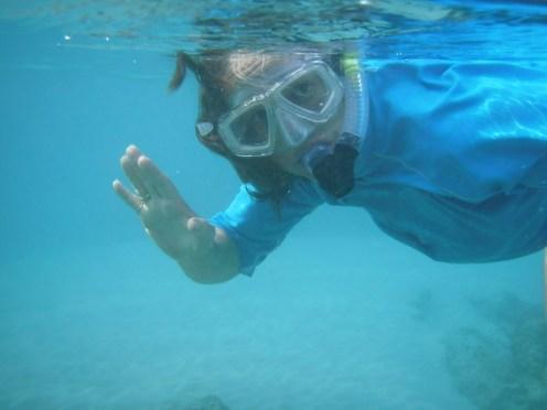 Meg snorkeling