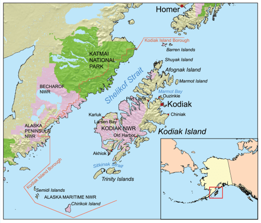 Map of Kodiak Island
