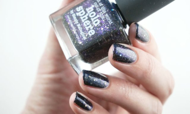 Swatch of Picture polish holo sphere showing the duochrome glitter it contains
