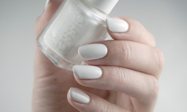 Swatches of Essie private weekend, a white creme nail polish