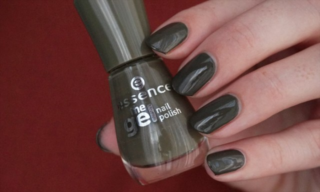 swatch of essence olive you, which is an army green Essence polish