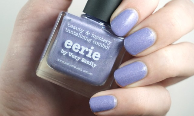 swatch of picture polish eerie, a lilac nail polish with a holographic finish