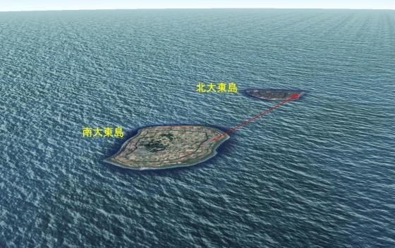 南大東島から北大東島への航空路線(Google Earthより)