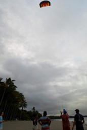 Noah flies the kite.