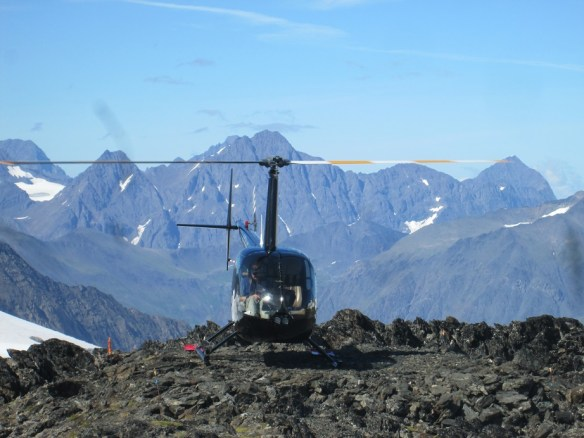 Helicopter with Mountains in Background