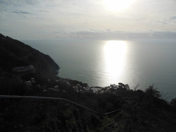 Mediterranean Sea from Hiking Trail in Cinque Terre, Italy