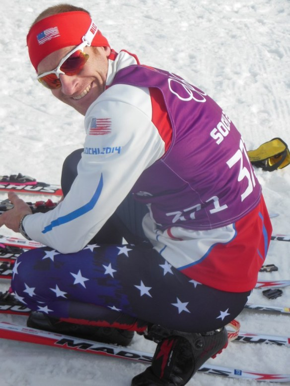 Brian Gregg Changing Bindings on Skis at Sochi 2014