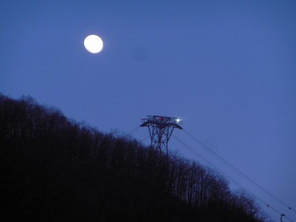 Full Moon and Cable-Way Station Above Kraysna, Polyana, Russia