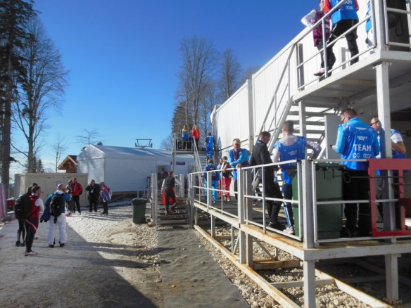 Hanging Outside at Sochi Olympic Waxing Cabins