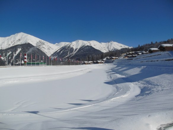 Groomed Lap of Snowmaking Pond in Sochi, Russia Olympic Village