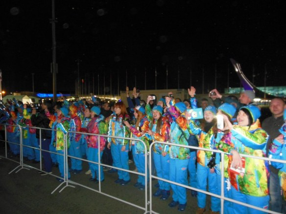 Volunteers Cheering outside Olympic Opening Ceremony
