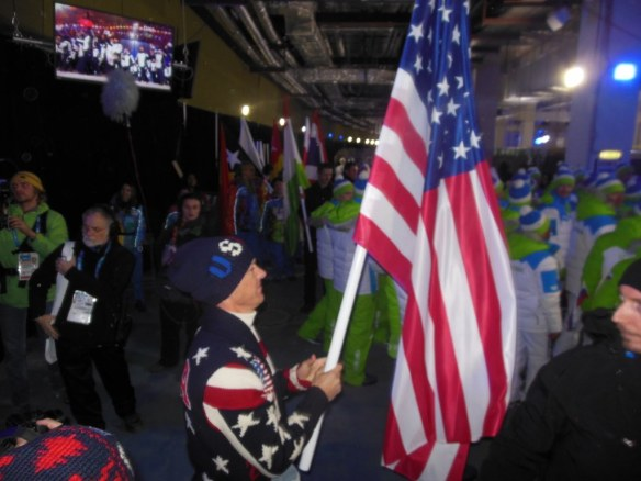 Todd Lodwick Carrying US Flag before entering Olympic Opening Ceremonies