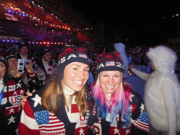Sophie Caldwell and Jessie Diggins in Olympic Opening Ceremony