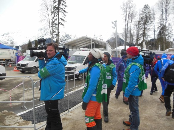 Television Cameras at Olympic Skiathlon Arrival