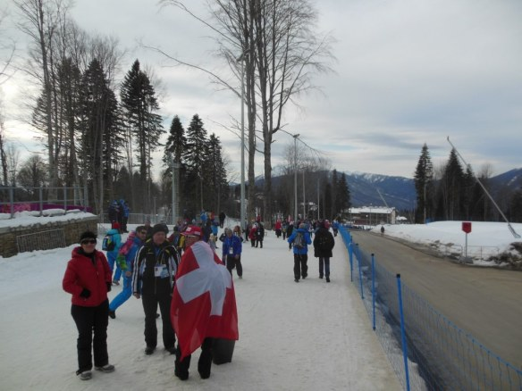 Fans Walking Up and Down to/from Cross Country and Biathlon Olympic Venues