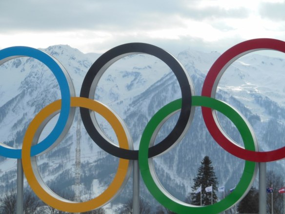 Olympic Rings With Mountains Behind in Sochi, Russia