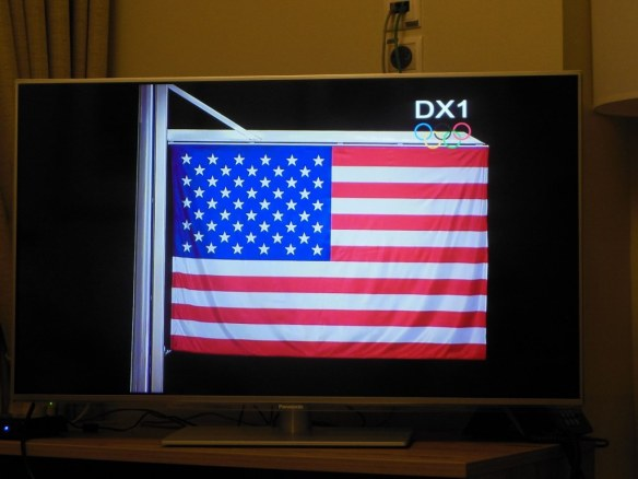 U.S. Flag Getting Raised on T.V. at Olympic Medals Ceremony