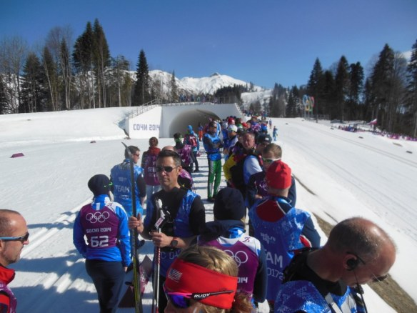 Crowded Coaching Zone on Olympic Women's Relay Day