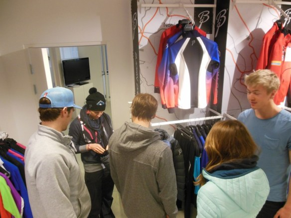 U.S. Ski Team Checking out Bjorn Daehie Clothing