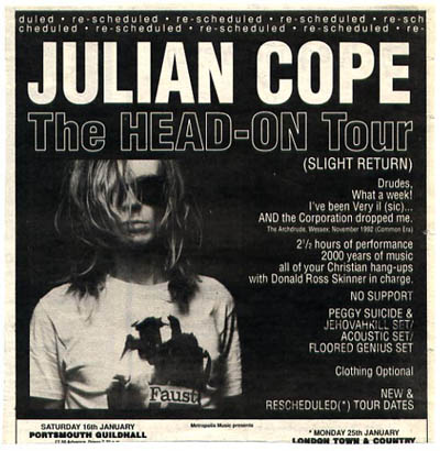 JULIAN COPE - Head on Tour