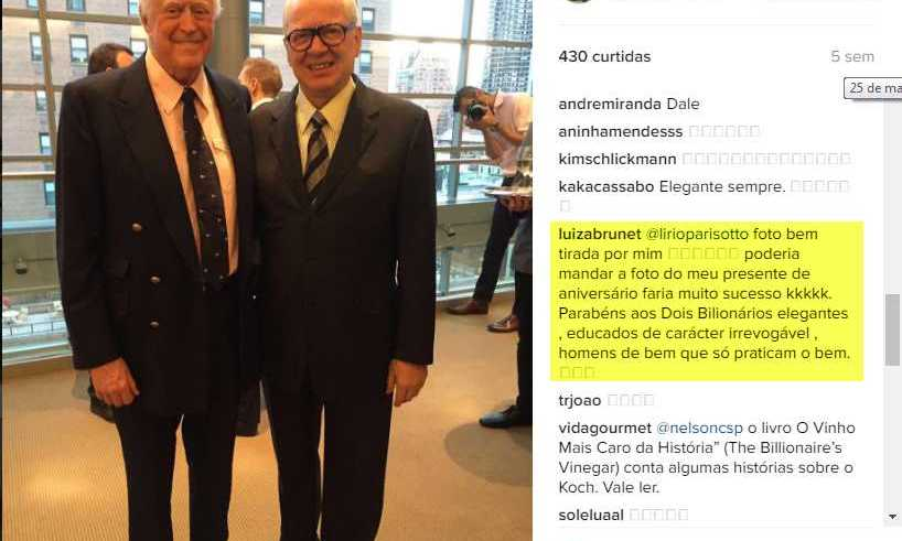 Luiza Brunet comentando a foto de Lirio A Parisotto no dia 25 de maio de 2016