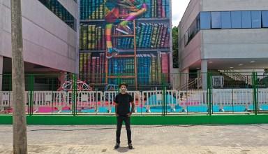 Kobra em frente ao mural @drone.cyrillo