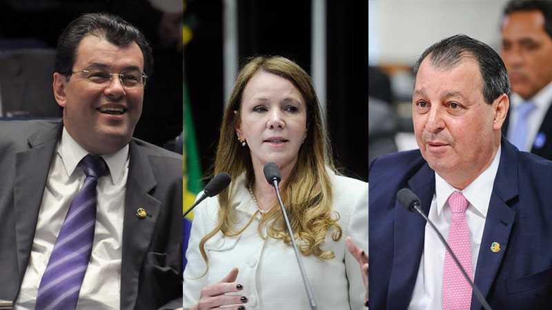 Os senadores Eduardo Braga e Omar Aziz votam a favor de Aécio ; Vanessa, se ausenta / Divulgação