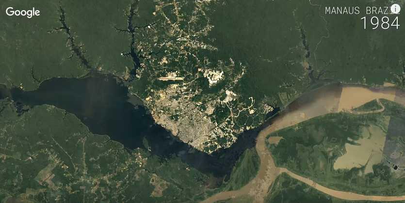 Vista aérea de Manaus em 1984 / Reprodução Youtube