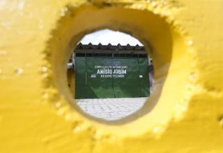 Portão principal do Complexo Penitenciário Anísio Jobim (Compaj), na capital amazonense, onde 56 detentos foram mortos em uma rebelião Marcelo Camargo/Arquivo/Agência Brasil