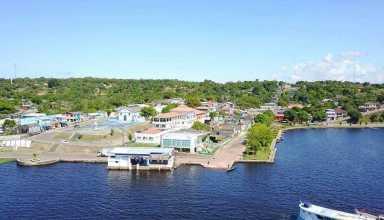A orla da cidade vista de cima da ilhota   Foto: Divulgação/Assessoria Prefeitura de Silves