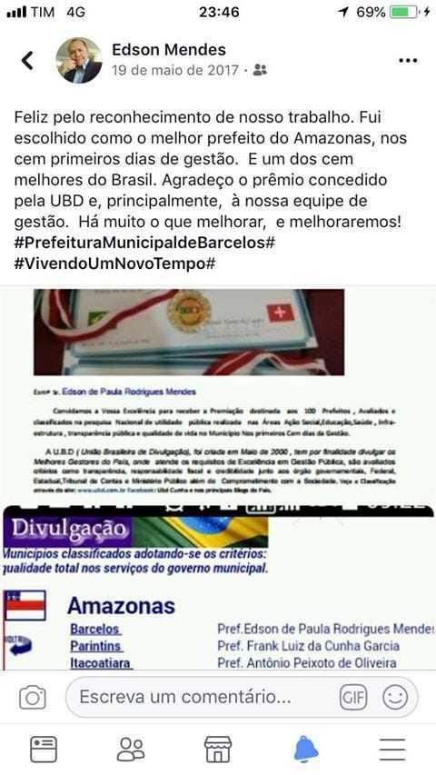 o prefeito de Barcelos,Edson de Paula Rodrigues Mendes também figura na lista de 2017. / Foto : Reprodução Facebook