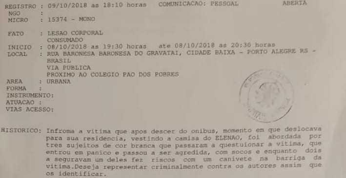 Uma mulher afirmou ter sido marcada em represália por usar uma camiseta em que estava escrito #Elenão - Imagem: Divulgação