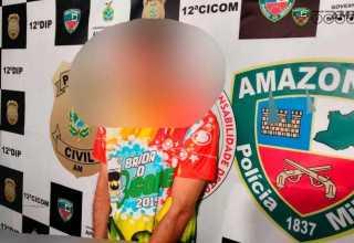 O suspeito foi preso no bairro Nova Esperança, zona Oeste de Manaus. / Foto: Divulgação/PMAM
