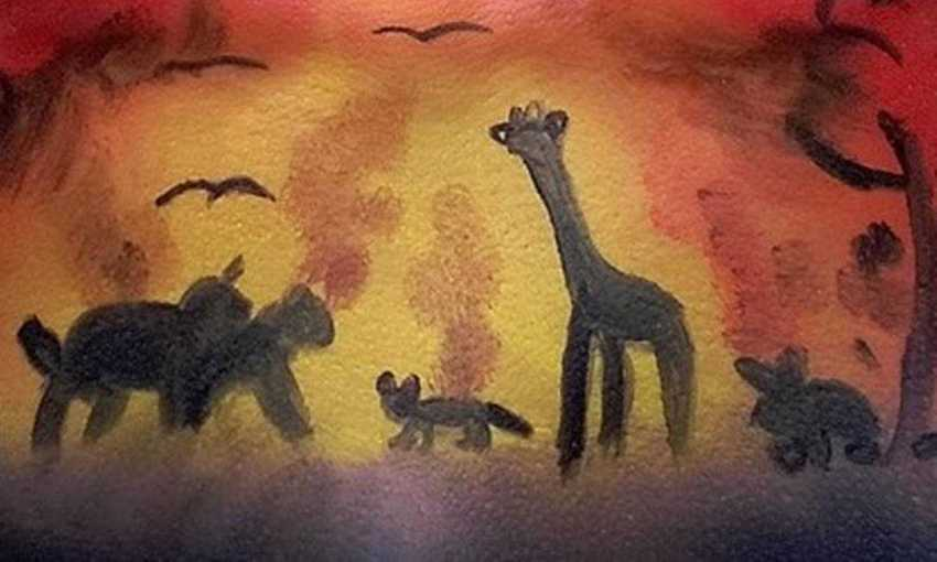 Girafa em pintura no corpo deu início à polêmica Foto: Reprodução