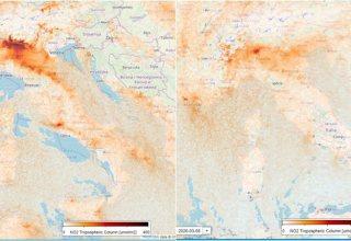 Dados de satélite mostram as emissões de dióxido de nitrogênio no norte da Itália em 14 de fevereiro (esquerda) e 4 de março / Crédito: Divulgação/Twitter